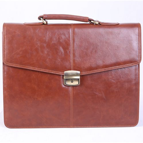1507-600 - Brown Melife leather PU 2 gusset briefcase