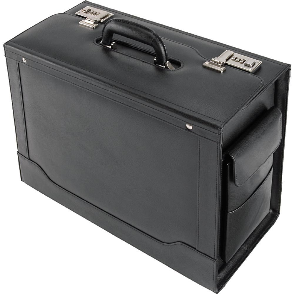 Pilot Case Trolley Leather Black With Wheels Wheeled Number Lock Notebook Compartment