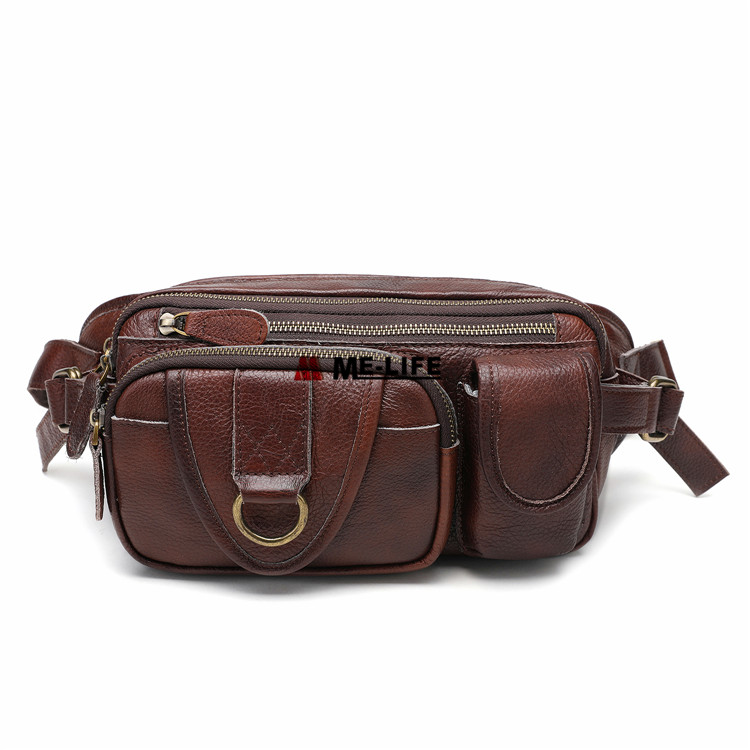 1818-6483 High Quality Brown Genuine Leather Waist Bag for Hiking