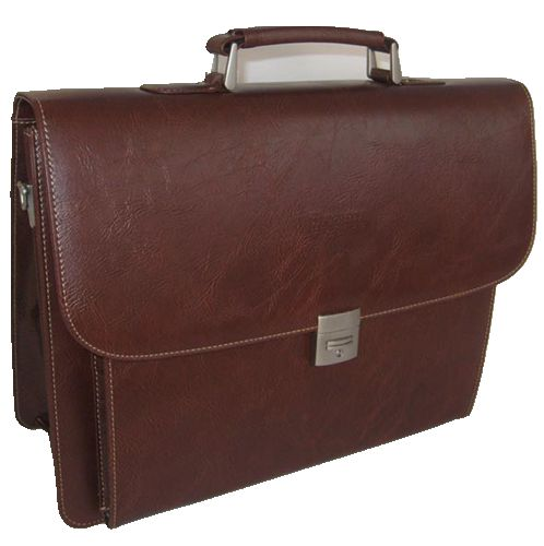 9201B-360-coffee Melife leather PU 2 gusset briefcase