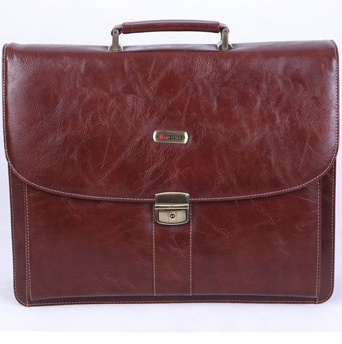 9201B-3665-coffee Melife leather PU 2 gusset briefcase
