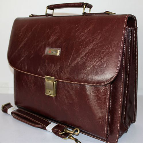 9201B 139 Coffee Melife Leather PU 2 Gusset Briefcase