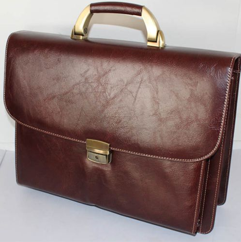9201B 1545 Coffee Melife Leather PU 2 Gusset Briefcase
