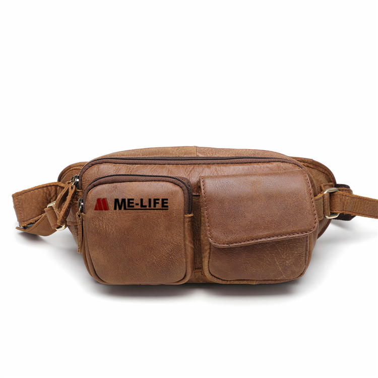 1818-2101 Multifunctional leather waist bag with adjustable belt
