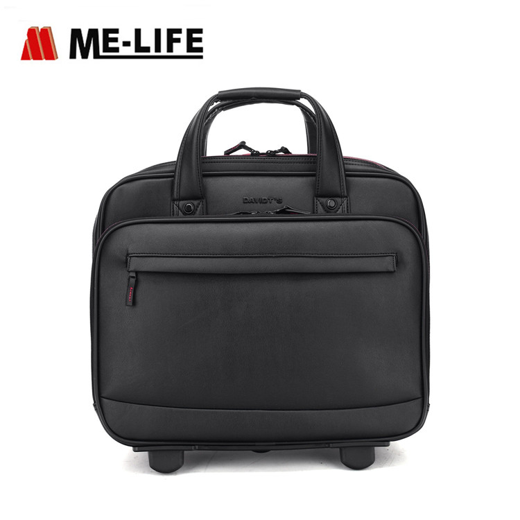 1715-01 pilot briefcase business travel rolling bag slim tote
