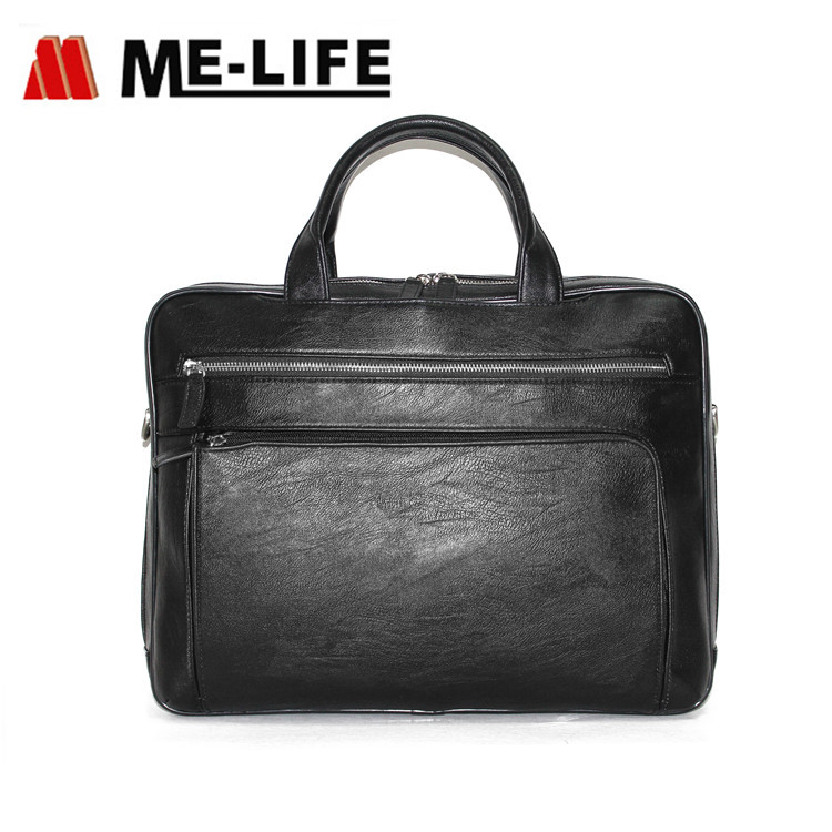 1743-785 leather messenger bag laptop briefcase computer bag