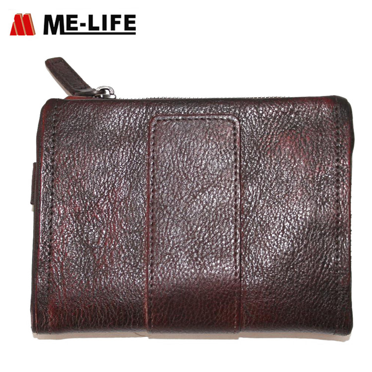 1818-193 genuine leather wallet with coin collecting zipper pocket mini wallet