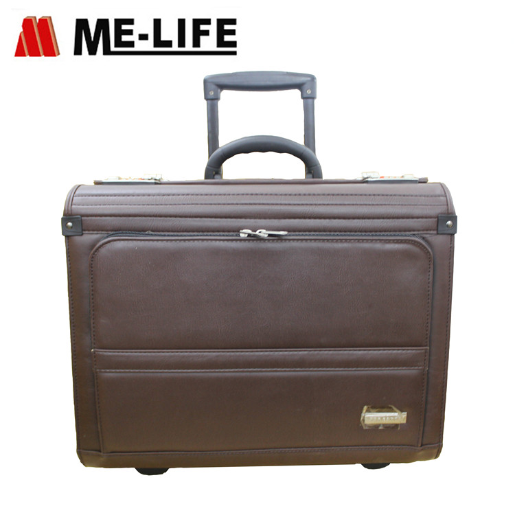 SP206F Rolling catalog case imitation leather PU pilot case with two end pockets