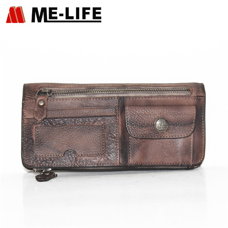 8197 genuine leather wallet with removable phone pocket