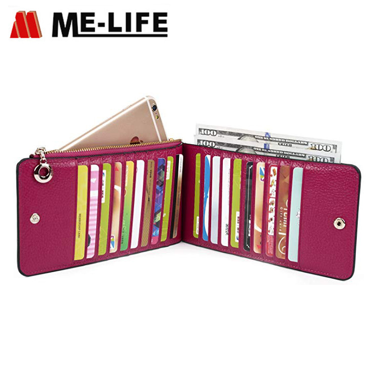 11002126-9 PU leather women card holder with zipper