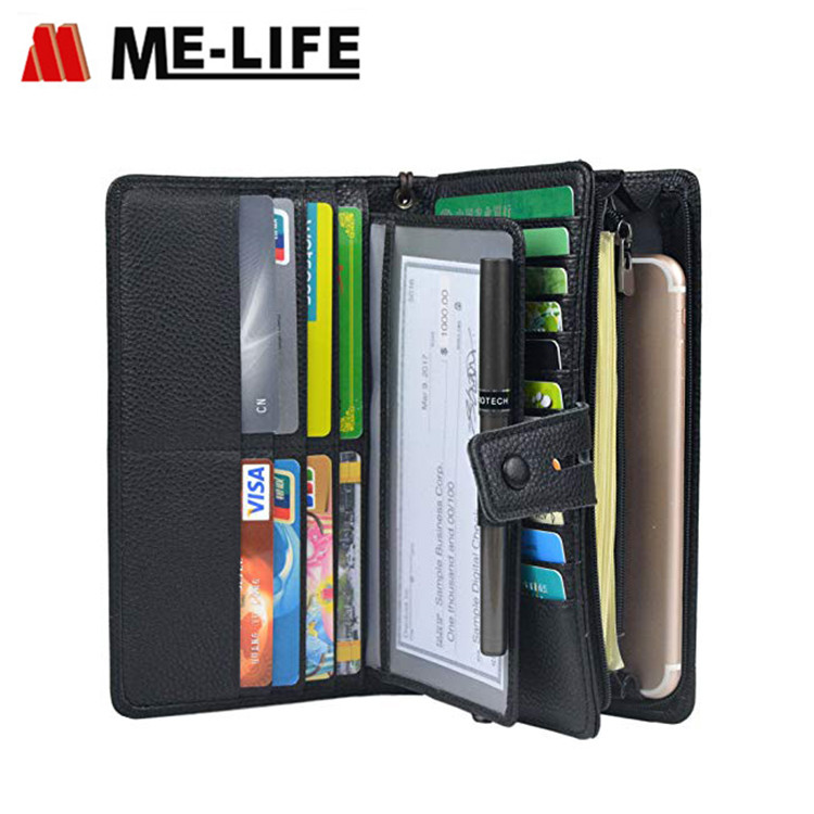 BE1421NVBU PU leather travel women wallet with slots for cards