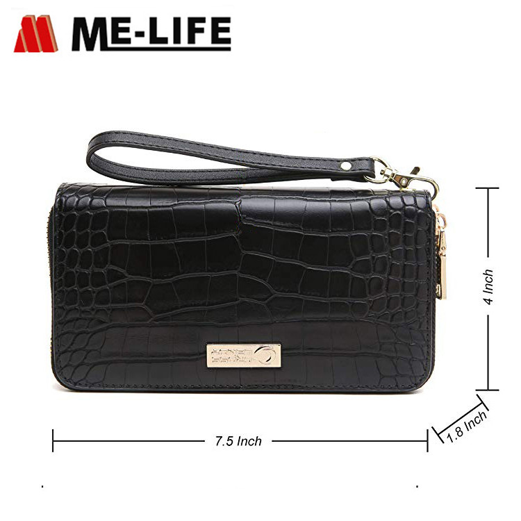 CLB009 PU leather wallet with zipper and large capacity