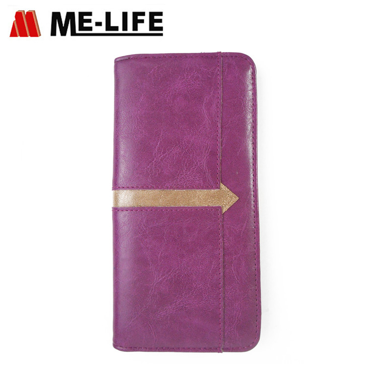 D-29 leather PU women wallet with multi-color  design