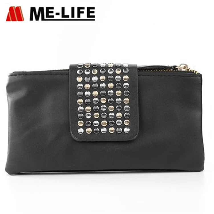 WAL31202 leather PU travel wallet with rivet design wallet phone case