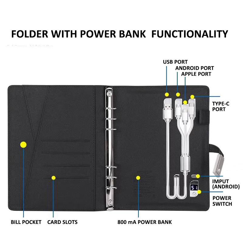 BC5301 padfolio portfolio binder document organizer folder gift set with power bank and USB disk