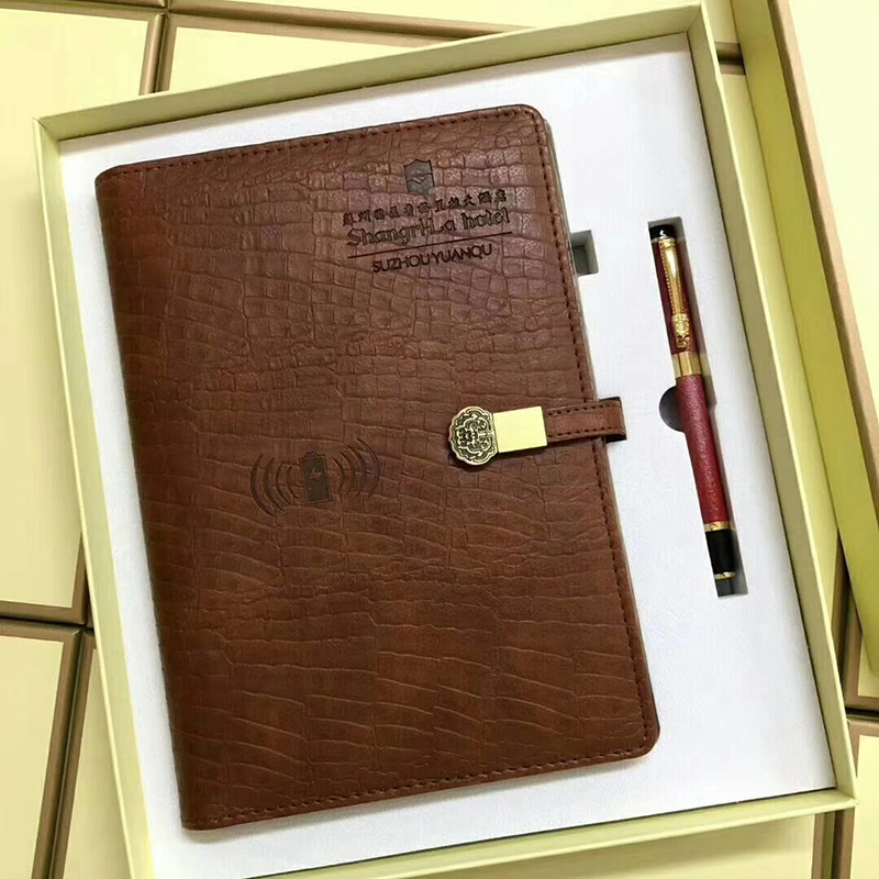 BC5302 Padfolio Portfolio Business folder Notepad  Leather Case with 10000mAh Power Bank for Busines
